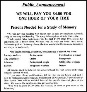Milgram Advertisement