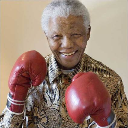 Mandela (an amateur boxer in his youth) available at news.bbc.co.uk/2/hi/africa/5187272.stm