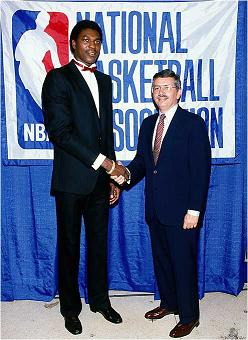 Hakeem Olajuwon and David Stern in 1985