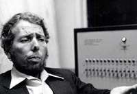Stanley Milgram before electric shock generator.