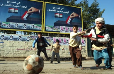 Iraqi Boys playing soccer
