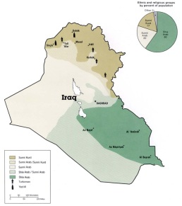 Map of Iraq divided into 3 regions