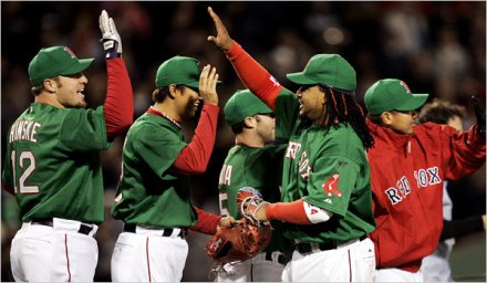 Matsuzak and Okajima Join Sox Celebration - image by Tyler Kepner for NYTimes