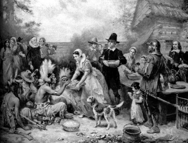 The first Thanksgiving, painting by Jean Louis Gerome Ferris