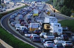 Automobiles in a traffic jam on a highway