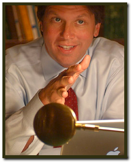 Mark Lanier with apple