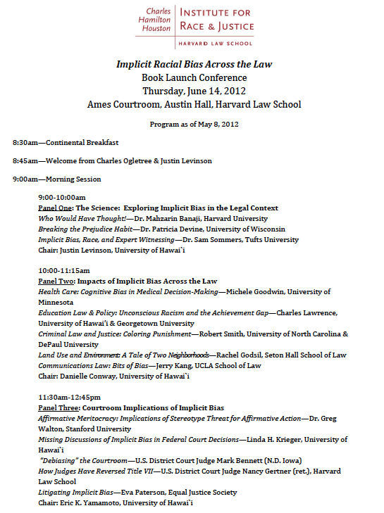 Implicit Bias in the Law Conference This Thursday The Situationist – Meeting Program Sample