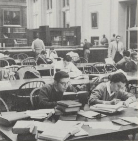 men and woman in Langdell Library 1959